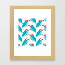 Kingfishers and Polka Dots Framed Art Print