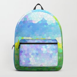 Simple mosaic landscape with horizon, clouds and grass Backpack