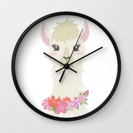 Floral Bust of a Llama Wall Clock