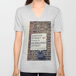 London street sign Unisex V-Neck