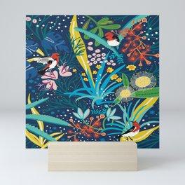 Scarlett honeyeater wild garden Mini Art Print