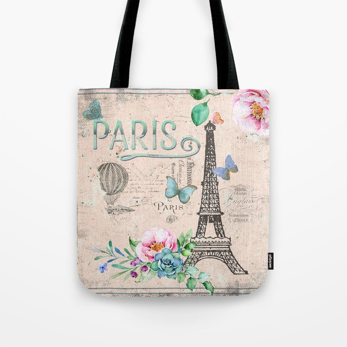 Paris My Love France Nostalgy Pink French Vintage Tote Bag