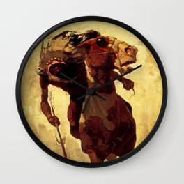 "N C Wyeth Vintage Western Painting ""Indian Lance"" Wall Clock"