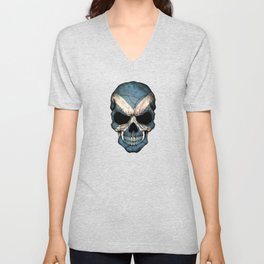 Dark Skull with Flag of Scotland Unisex V-Neck