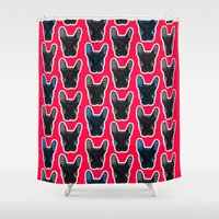 artrave Shower Curtains featuring BATPIG artRAVE Red by Walko