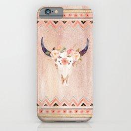 Bull Head Skull Boho Flowers iPhone Case