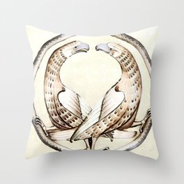 Griffons Medieval Graphics Throw Pillow