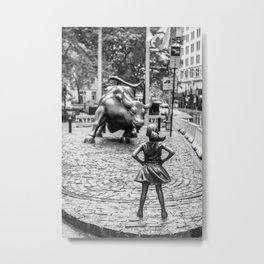 Fearless Girl & Charging Bull in the rain Metal Print