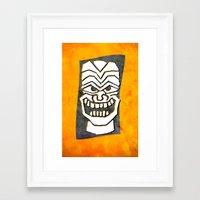 tiki Framed Art Prints featuring Tiki by materndesign
