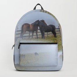 Horses on a misty morning Backpack