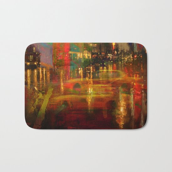 The yellow city of taxis Bath Mat