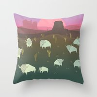 bison Throw Pillows featuring Bison by N1MH