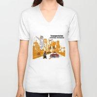 technology V-neck T-shirts featuring  Transportation  technology by Design4u Studio