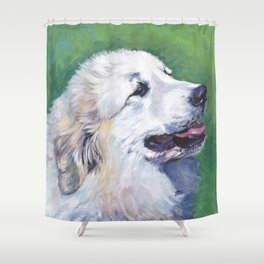 Great Pyrenees dog portrait art from an original painting by L.A.Shepard Shower Curtain