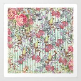 Vintage green yellow pink grunge stripes bird floral Art Print