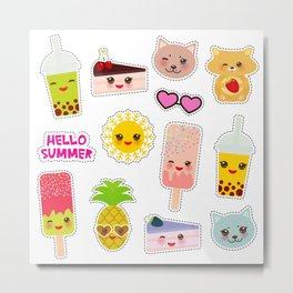 Hello Summer. Pineapple, cherry smoothie cup, ice cream, sun, cat, cake, hamster. Kawaii cute face. Metal Print
