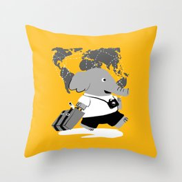 off to see the world Throw Pillow