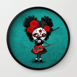 Day of the Dead Girl Playing Albanian Flag Guitar Wall Clock