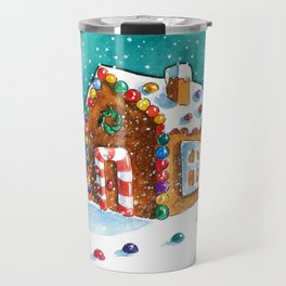 Gingerbread house with lots of candy Travel Mug