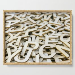 Pile of Mixed Wooden Letters Close Up Serving Tray