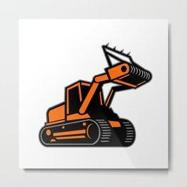 Tracked Mulching Tractor Icon Retro Metal Print
