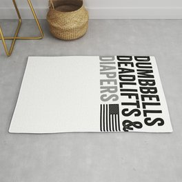Dumbbells Deadlifts and Diapers - American Flag - Gym Gift T-Shirt Rug
