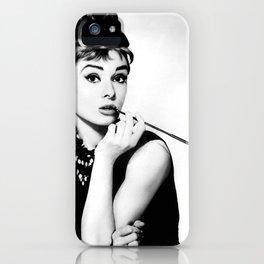 Audrey Hepburn Portrait, Black and White Vintage Art  iPhone Case