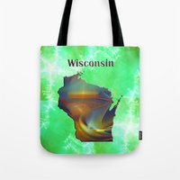 wisconsin Tote Bags featuring Wisconsin Map by Roger Wedegis