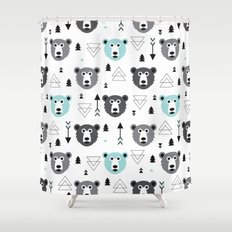 Geometric grizzly bear and arrows Shower Curtain