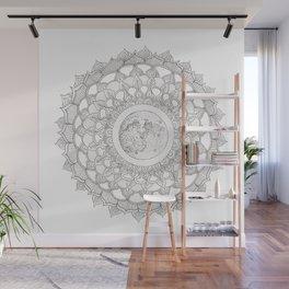 Mandala with Full Moon Illustration Wall Mural
