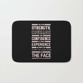 Lab No. 4 Strength Does Not Come Arnold Schwarzenegger Motivational Quote Bath Mat