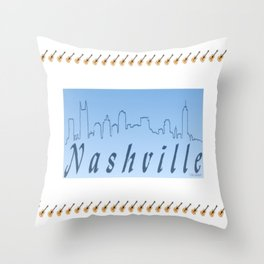 Nashville Skyline Blue Throw Pillow