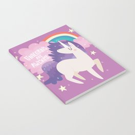 Unicorns Are Awesome With Clouds and Rainbow Notebook