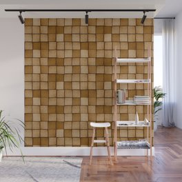 Wood Blocks-Brown Wall Mural