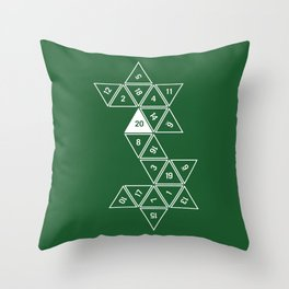 Green Unrolled D20 Throw Pillow