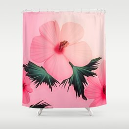 Tropical Pink Hibiscus Flower Print Shower Curtain