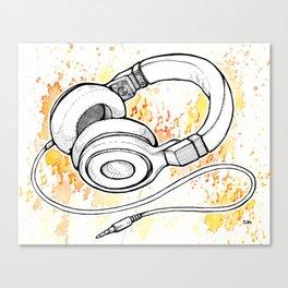 Headphones (Splash Music) Canvas Print
