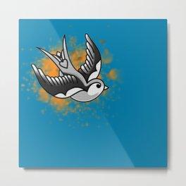 Astute swallow on a orange stain Metal Print