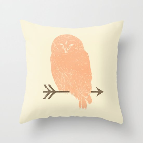 Owl and Arrow Throw Pillow