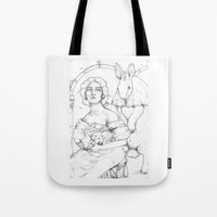 bunnies Tote Bags featuring Bunnies  by Jessica Bowman Illustrates