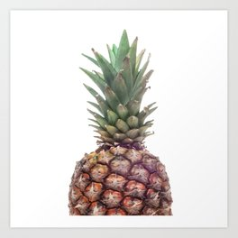 One Big Pineapple - white Background Art Print