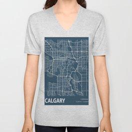 Calgary Blueprint Street Map, Calgary Colour Map Prints Unisex V-Neck