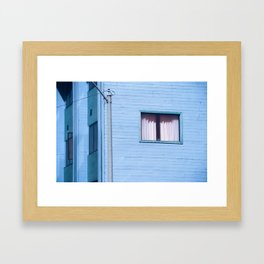vintage blue wood building with window and electric pole Framed Art Print