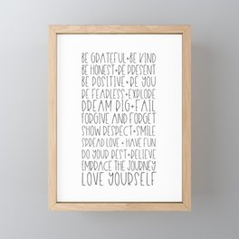 Family Reminders + Values Framed Mini Art Print