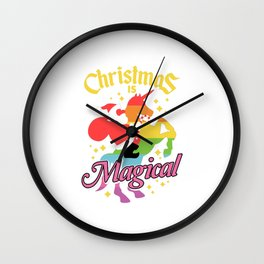 Christmas Is Magical Santa Riding Unicorn Wall Clock