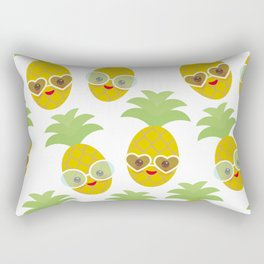 funny kawaii exotic fruit pineapple with sunglasses on white background Rectangular Pillow