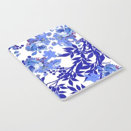 BLUE AND WHITE ROSE LEAF TOILE PATTERN Notebook