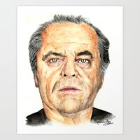 jack nicholson Art Prints featuring Jack Nicholson by Katherine Mary