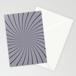 3D Pantone Lilac Gray with Black Thin Striped Circle Pinwheel Stationery Cards