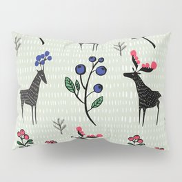 Berry loving deers on a green background Pillow Sham